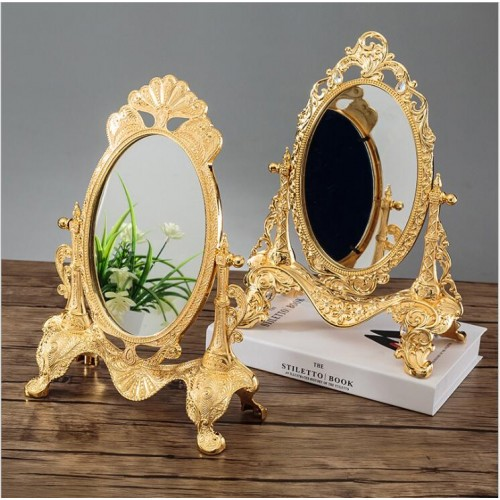 Europe 360 rotating sliver gold color Desktop mirror zinc alloy metal Vintage Vanity mirror Wedding home