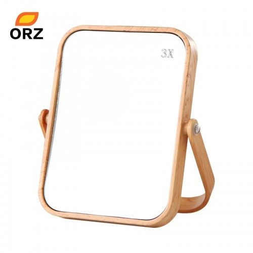 ORZ Desktop Oblong Plastic Makeup Mirror Two sided Wood Grain Color Decorative Bathroom Cosmetic Mirror