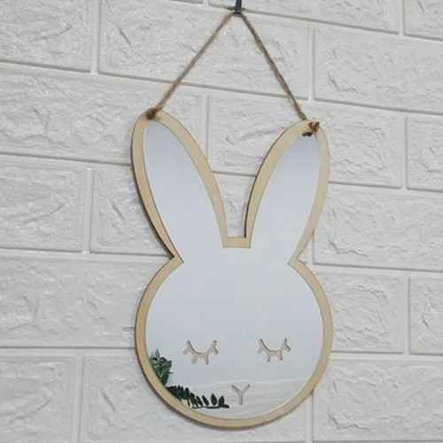 Small Cute Mirror Hanging Cartoon Home Wooden Acrylic Wall Decorative mirror