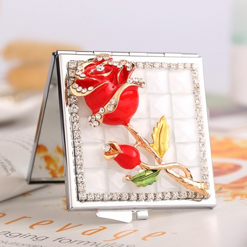 mini beauty makeup compact pocket mirror wedding party bridesmaid girl friend souvenir bling crystal rhinestone