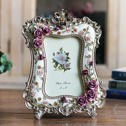6 Inch Rose Resin Photo Frame Wedding Crafts Desktop Decoration Picture Frame ElimElim