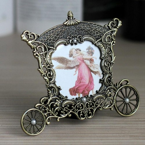 AsyPets Vintage Metal Carriage Photo Frame 3 x 3 Decorative Picture Frames Great Baby Wedding