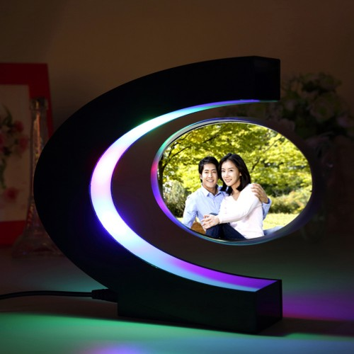 C shape Electronic Magnetic Levitation Floating Globe Photo Frame Blue light Birthday Xmas Decor Wedding