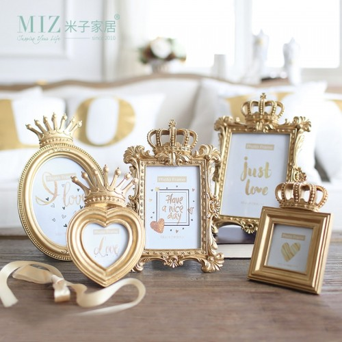 Miz Home 1 Piece 5 Model Luxury Baroque Style Gold Crown Decor Creative Resin Picture Desktop