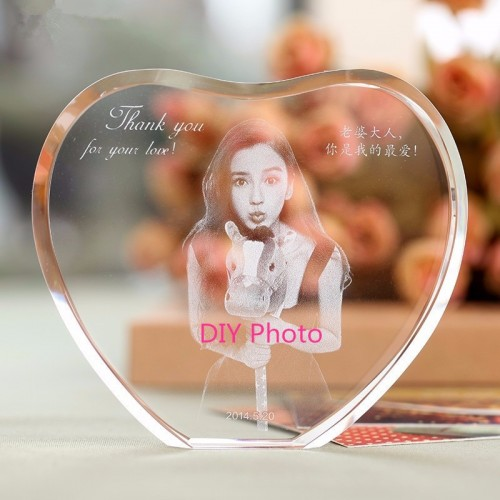 XINTOU Heart Crystal Photo Frame Custom 2D 3D Laser Engraving Baby Family Travel wedding Picture For