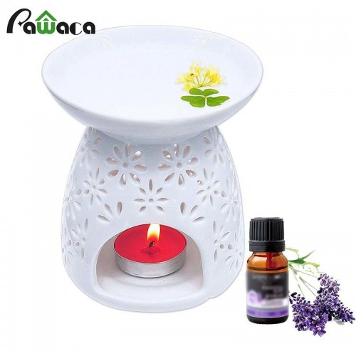1PC Ceramic Essential Oil Lamps Unglazed Ware Aromatherapy Oil Burner Diffuser Aroma Porcelain Home Candle Oil