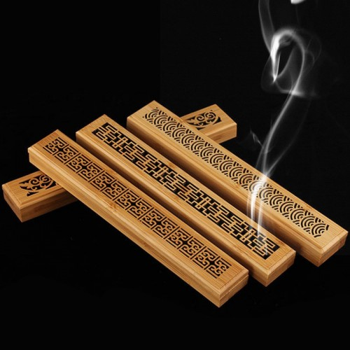 Bamboo Incense Burner Hand Carving Hollow Incense Stick Holder Joss Stick Box Lying Censer for Home