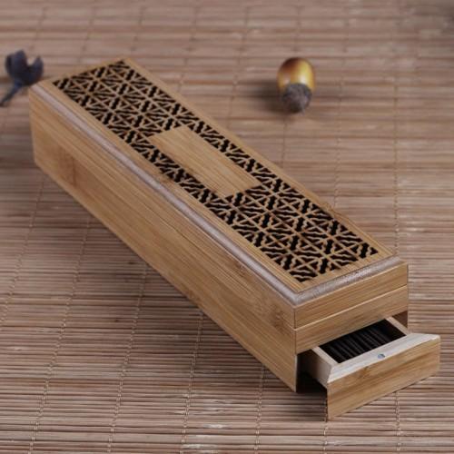 Bamboo Incense Burner Incense Stick Holder With Drawer Joss stick Box Hollow Aromatherapy Zen Lying Censer