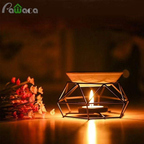 Candle Aromatherapy Aroma Burner Aroma Oil Lamp Furnace Essential Oil Burner Iron Rack Ceramic Tray Crafts