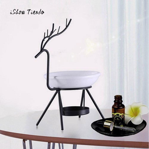 Creative Deer Oil Burner Stainless Steel Deer Burner Candle Aromatherapy Oil Lamp Decorations Aroma Furna Living