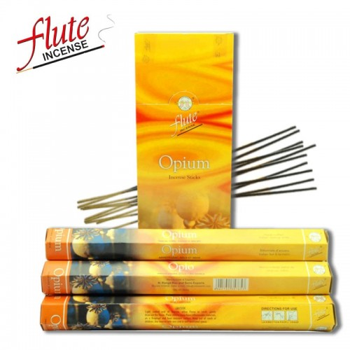 FLUTE 20 Sticks Pack Opium Aroma Herbal Cored Incense Sticks Handmade From Indian Burning in Tea