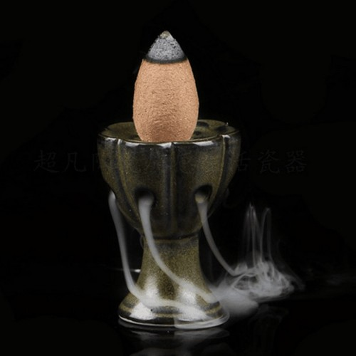 Mini Lotus Incense Burner Holder Buddhist Cones Backflow Censer Craft Home Office Decoration