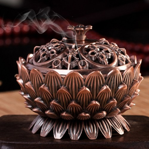 New Arrival Copper Lotus Incense Burner Alloy Mini Tibetan Incense Burner Sandalwood Censer Home Decor