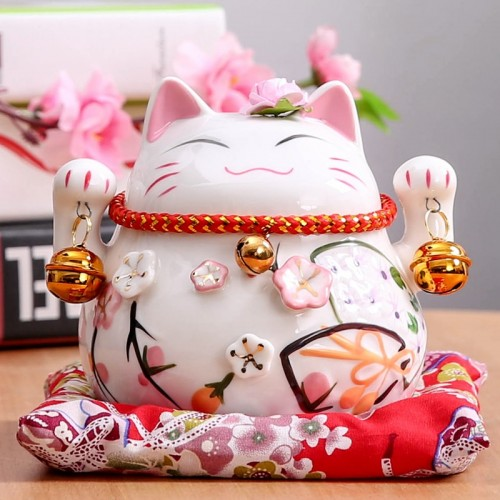 4 5 inch Maneki Neko Ceramic Lucky Cat Piggy Bank Home Decor Porcelain Ornaments Christmas