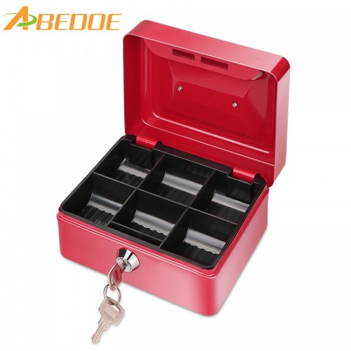 ABEDOE Small Metal Money Box Coin Cash Safe Box Piggy Bank with Lock 6 Compartments Money