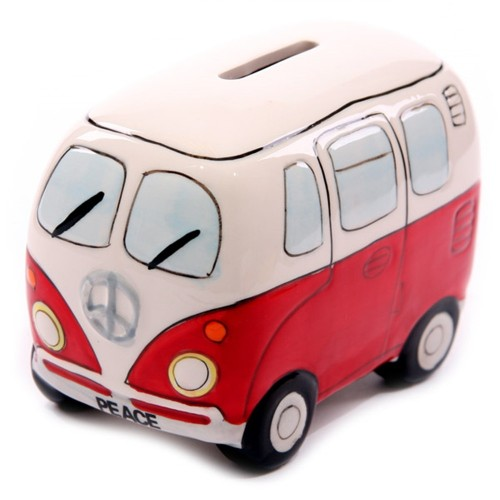 Camper Van Ceramic Money Box Coin Bank Recreational Vehicle Piggy Bank Caravan Travelers Truck Money Pot