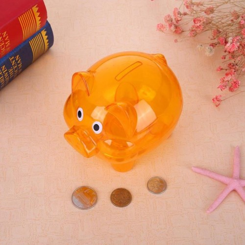 Children Piggy Bank Plastic Transparent Money Saving Boxes Case Coins Saving Cute Cartoon Pig Shaped Piggy