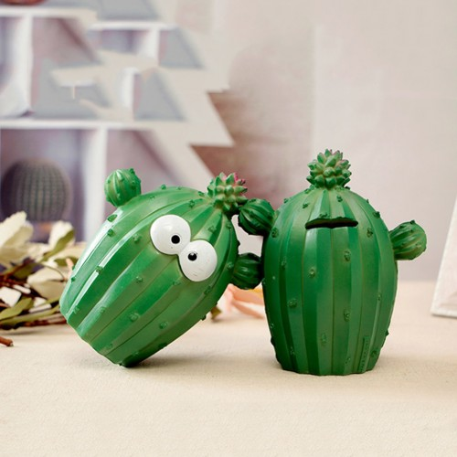 Cute Cartoon Cactus Money Boxes Facial Expression Unique Fun Cactus Plant Resin Coin Piggy Bank Home