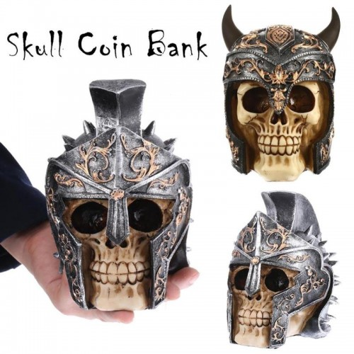 Helmet Skull Piggy Bank Resin Statue Sculptures Skull Money Box Skeleton Stone Piggy Bank Fashion Home