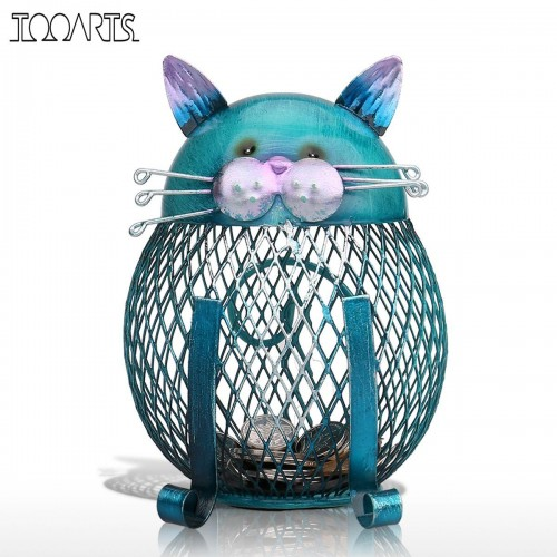 Tooarts Cat Piggy Bank Metal Coin Bank Money Box Figurines Coin Box Saving Money Home Decor