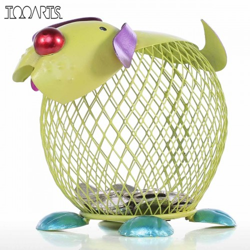 Tooarts Money Box Metal Green Puppy Money Bank Figurines Animal Piggy Bank Home Decor Craft Modern