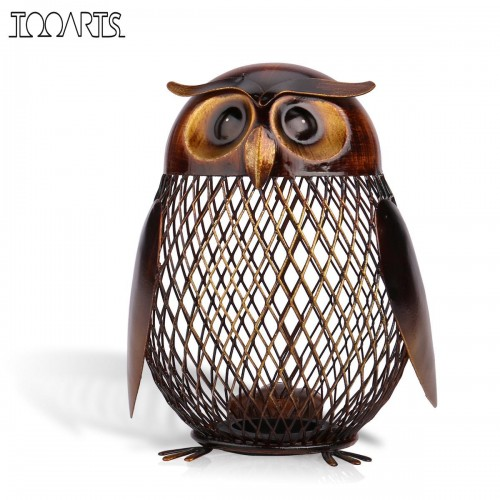 Tooarts Piggy Bank Money Box Owl Metal Piggy Coin Bank Money Saving Box Home Decoration Figurines
