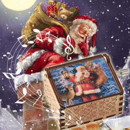 Christmas Wooden Music Box Santa Claus Home Decoration Great For Birthday Christmas Great WR Hand