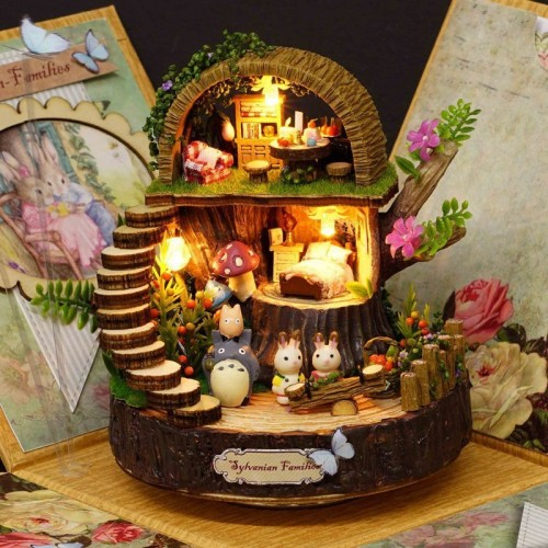 DIY Assembled Resin Anime Cottages Music Box My Neighbor Totoro Birthday Fantasy Forest Candy Cat