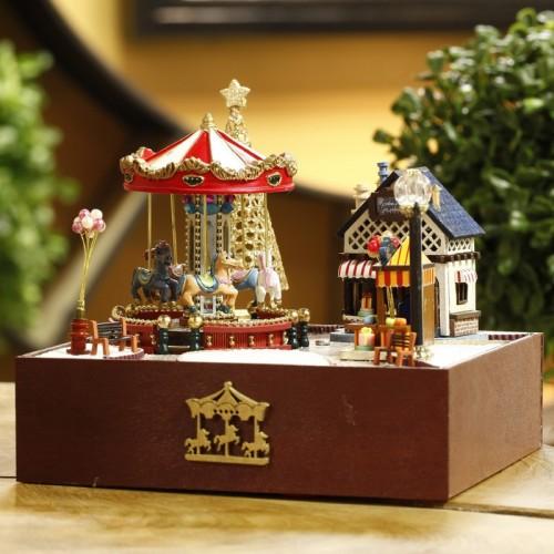 DIY Carousel Music Box Happiness And Sunshine Wooden Music Box European Handmade Educational Toy Home Decoration