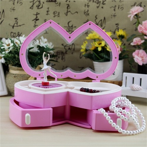 Double Heart Clockwork Music Box With Mini Jewel Case Drawer Creative For Kids Baby Dancing