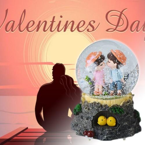 Electronic Automatic Spray Snowflake Valentine s Day Music Box Water Ball Snow Globe