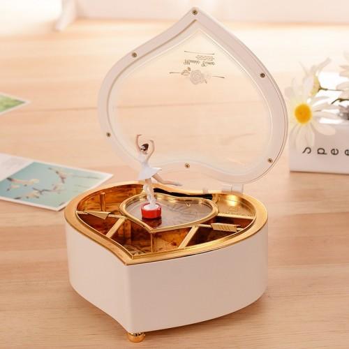 Heart Shape Dancing Ballerina Music Box PLastic Jewellery Box Girls Carousel Hand Crank Music Box Mechanism