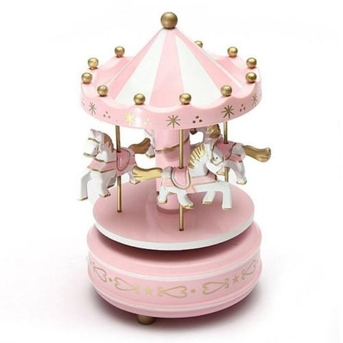 Merry Go Round Wooden Music Box Decor Carousel horse Music Box Christmas Wedding Birthday 2