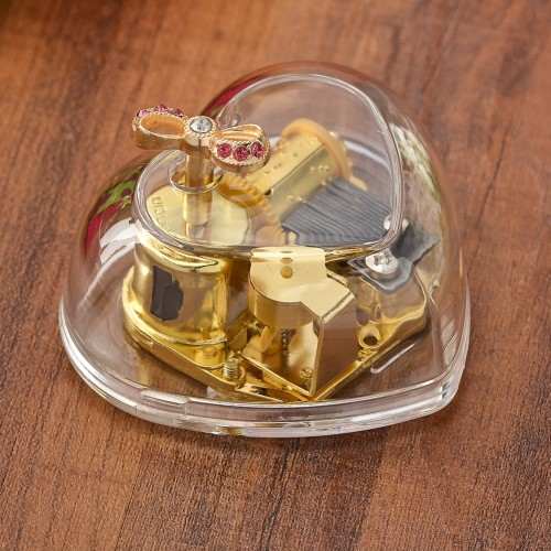 Newest Transparent Acrylic Music Box Gold Wind Up Music Boxs Castle In The Sky Happy