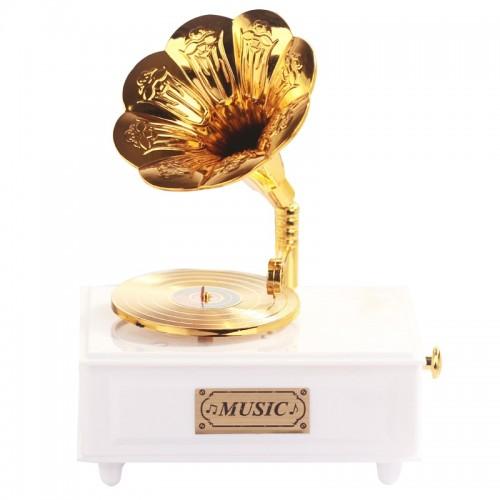 Sweet Gramophone Drawer Music Box for Home Accessory Wedding Birthday Figurine Jewelry Box Hand Crank