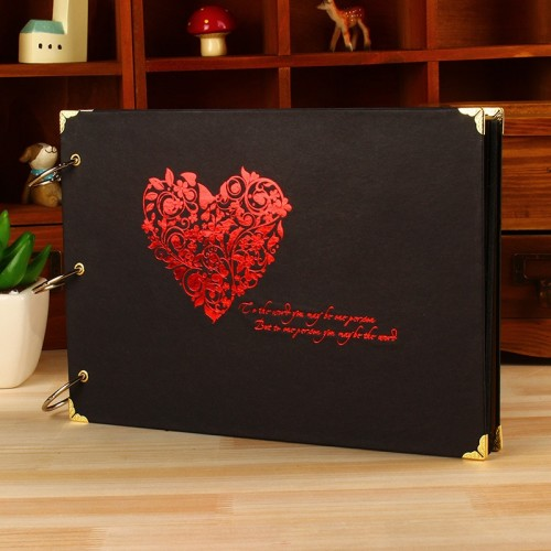 10 inch Heart DIY Photo Album 9 Design Love Family Memory Record Black Scrapbooking Album Sticky