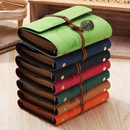 5 Inch 14 5x10 5cm PU Leather Vintage Khaki Paper Maple Leaf Photo Album Diary Notebook