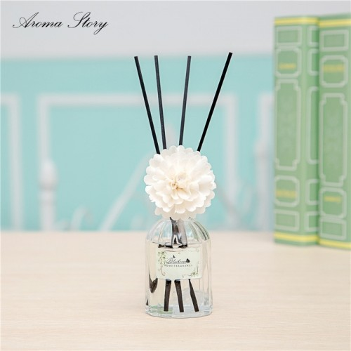 Aroma Diffuser with Sola Flower Glass Bottle Fragrance Diffuser Reed Diffuser Air Freshener Osmanthus Lavender Lemon