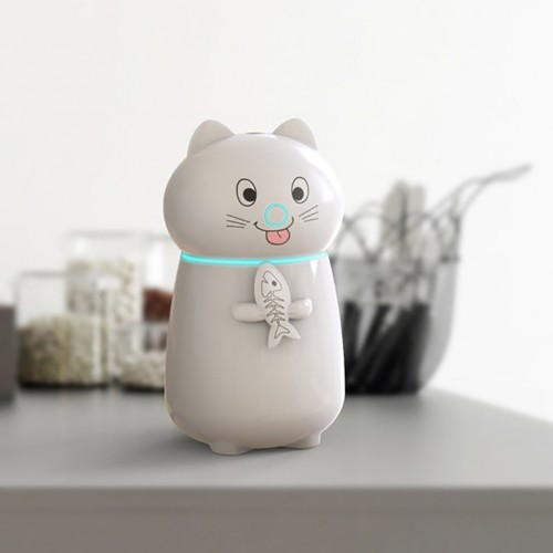 Reed Diffuser Sets ABS USB Humidifie White Cute Cat 3 In 1 LED Humidifier Air Fan