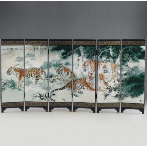 CHINESE LACQUER OLD HANDWORK PAINTED FIVE BLESSING TIGER SIX FOLD SCREEN DECO