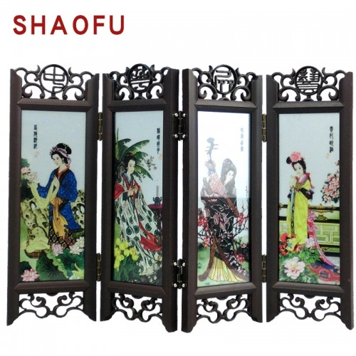 Chinese Vintage Glass Antique Folding Screen Mini Desktop Ornaments Room Divider Souvenir Home Decoration Accessories
