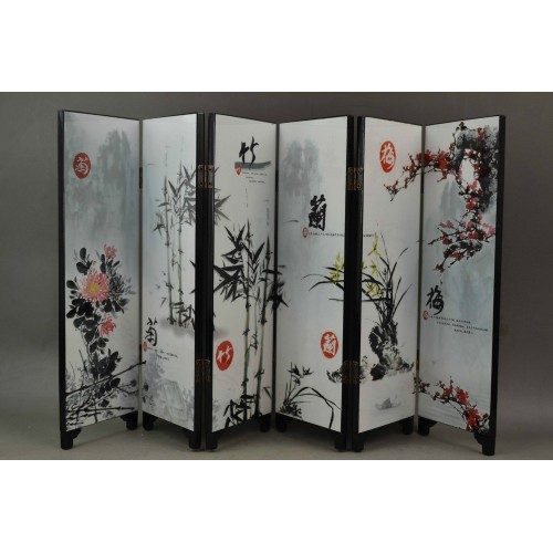 Chinese wooden screen lacquer painting plum blossom bamboo flower painting