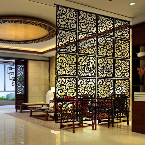 Entranceway door hanging screen 29 x 29cm Wood carving vintage cutout Fashion partition Modern brief decoration curtain
