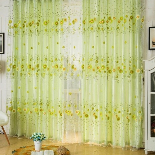 KiWarm Home Window Decor Sunflower Printing Organza Curtain Pastoral Voile Panel Screen Decoration Supplies Hanging Room