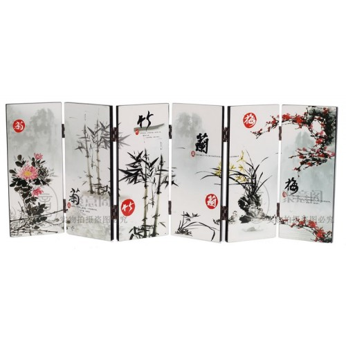 TNUKK Desk decorative chinese Lacquer ware painting Mei orchid bamboo chrysanthemum folding screen