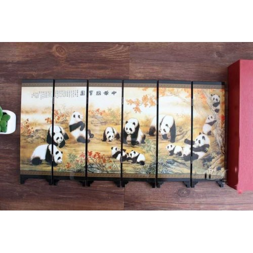 TNUKK Mini Exquisite Chinese Classical Lacquer Painting Folding Screen Cute Pandas
