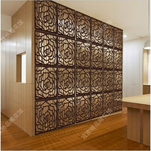 Wooden Room Divider Carved High Quality Rose Style Wood Panel Folding Screen Cheap Folding Screen Paravent