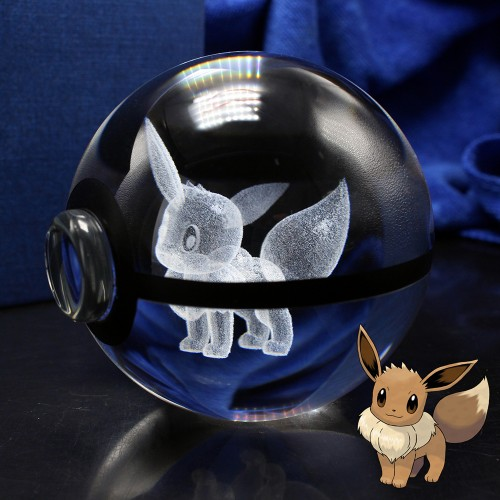 3D Laser Pokemon Go Crystal Eevee Sculpture Ball With Led Light Base for Cartoon Souvenirs