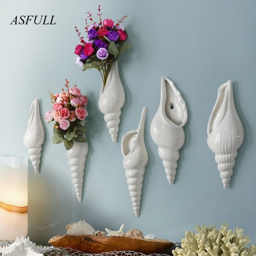 Simple modern three dimensional mural wall flower vase conch creative background wall decoration Home Furnishing