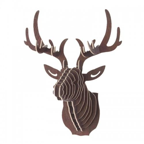Urijk 3D Wooden Animal Deer Head Art Model Home Office Wall Hanging Decoration Storage Holders Racks